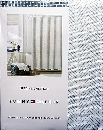 Amazon.com: Tommy Hilfiger Fabric Shower Curtain Gray Herringbone ...