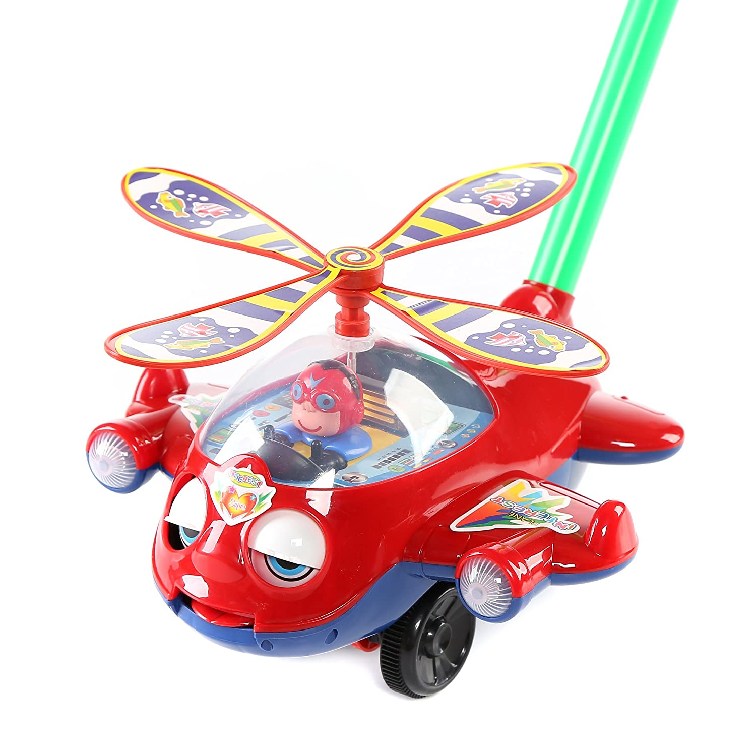 Fun Central BC760 1 Pc 10 inches Plane Push Toy Pushing Toy Kids Outdoor Push Toys Classic Push Pull Toys Push Around Toy Baptism Birthday Party Prizes
