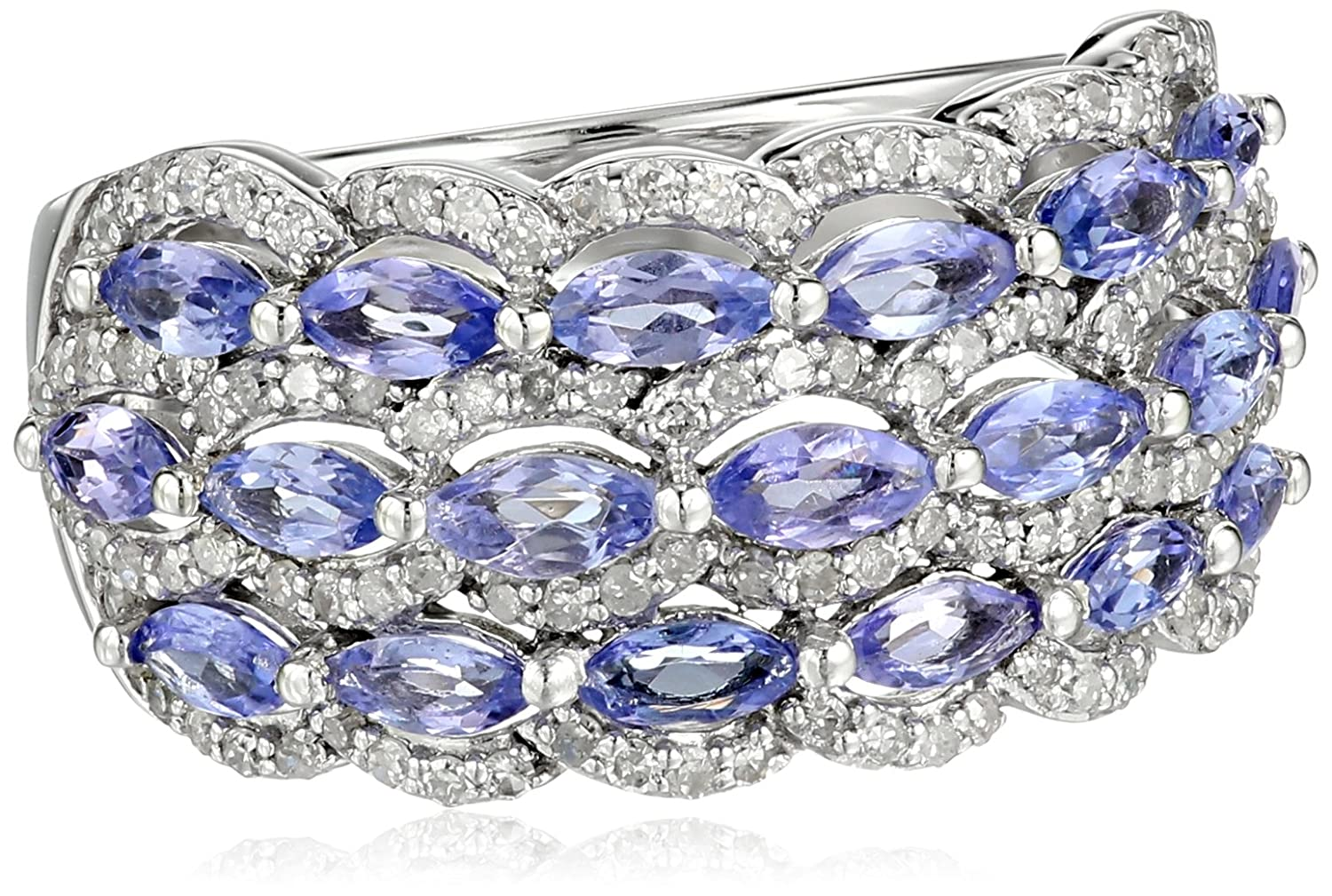 10k White Gold Tanzanite and Diamond (1/2cttw, H-I Color, I2-I3 Clarity) Ring, Size 7