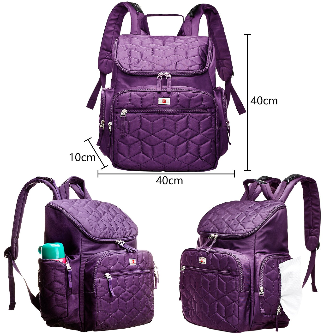 Purple AROHA Baby Backpack Changing Bag for Mummy with Insulated Pouch and Folding Changing Mat for Girls and Boys