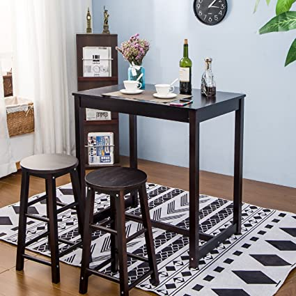 Amazon.com - Merax 3-piece Dining Table Set High/Pub Table Set with ...