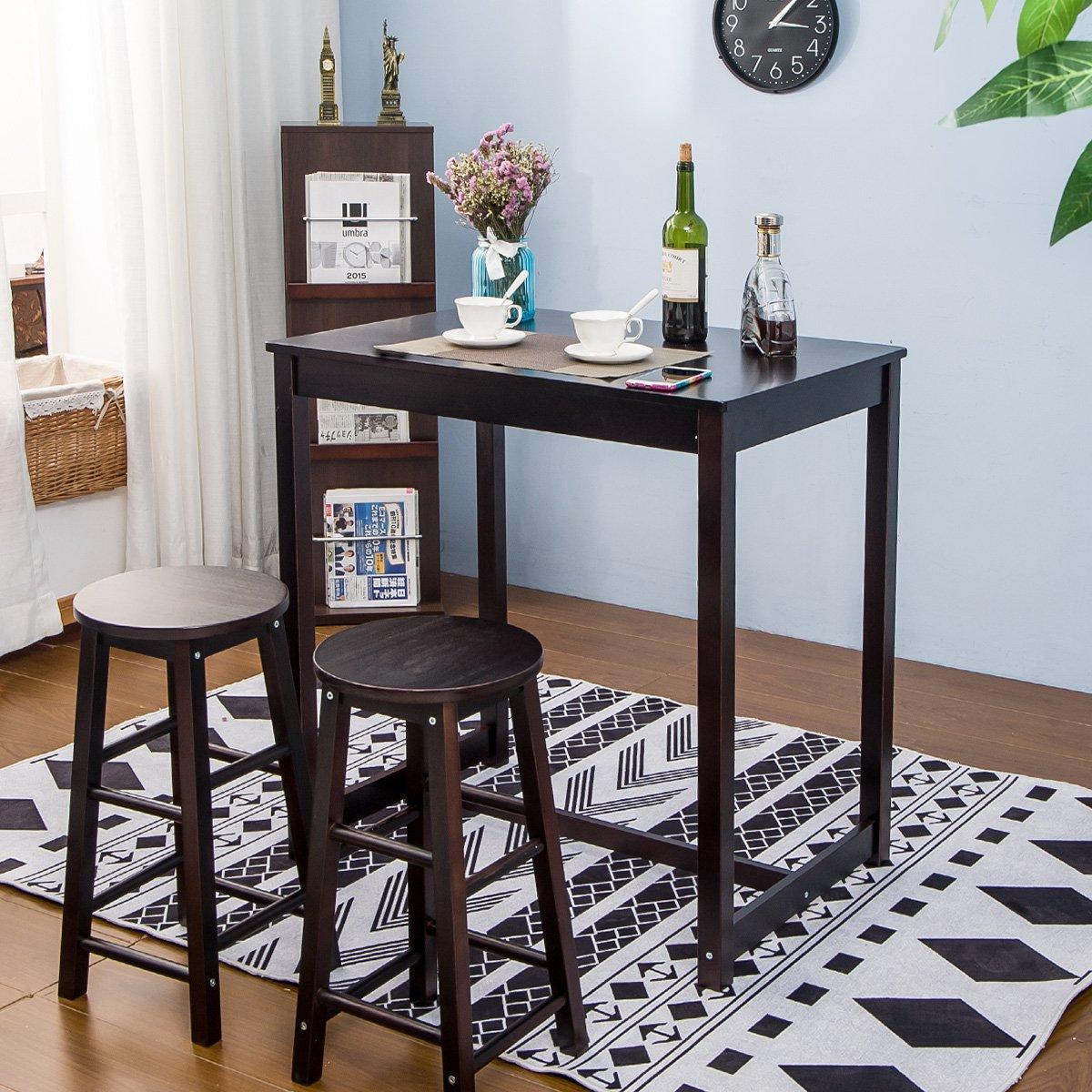 Merax 3-piece Dining Table Set High/Pub Table Set with 2 Bar Stools (3-piece Espresso)