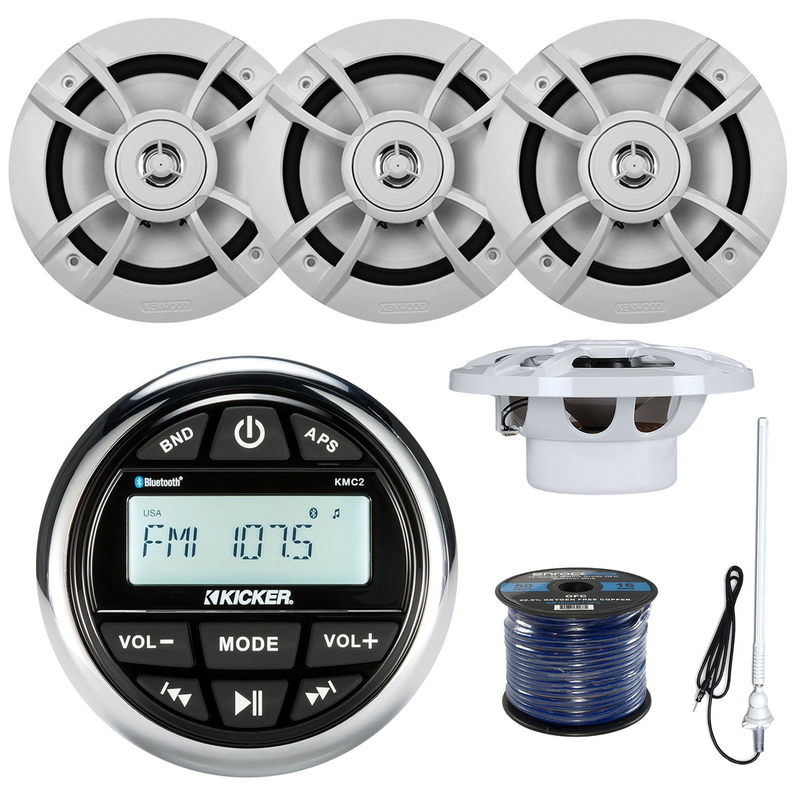 Kicker KMC2 Marine Boat Yacht Gauge Style AM/FM Radio Stereo Receiver Bundle Combo With 4x Kenwood 6.5-Inch 100 Watt Speaker + Enrock Radio Antenna + 50 Feet Speaker Wire
