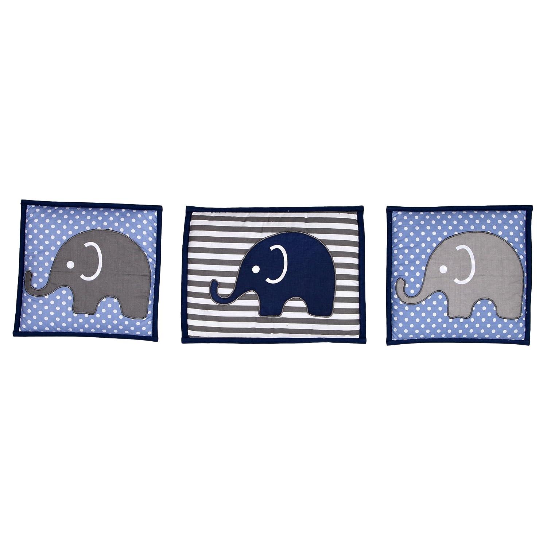 Elephants Blue//Grey 10 pc Crib Set Bumperfree Bacati EBG10CSN