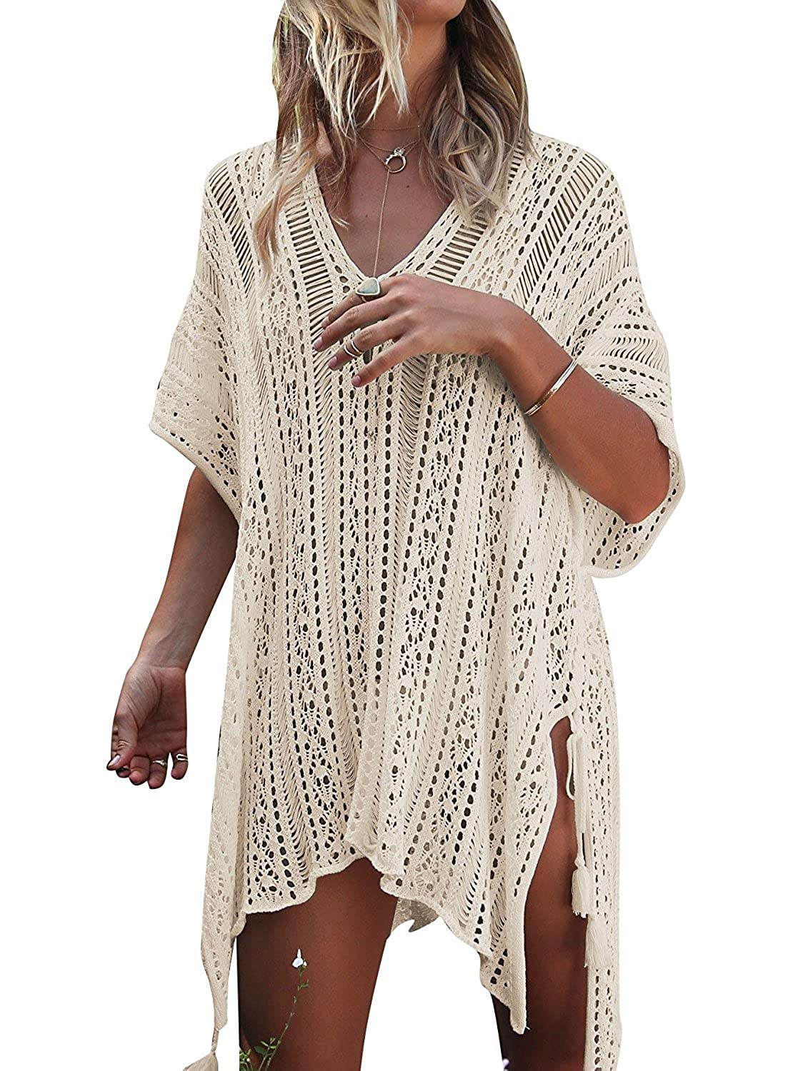 8d2d17d4ab This beach bikini cover up is made of crochet Design. The material is very  soft and comfortable. This bathing suit cover up is ...