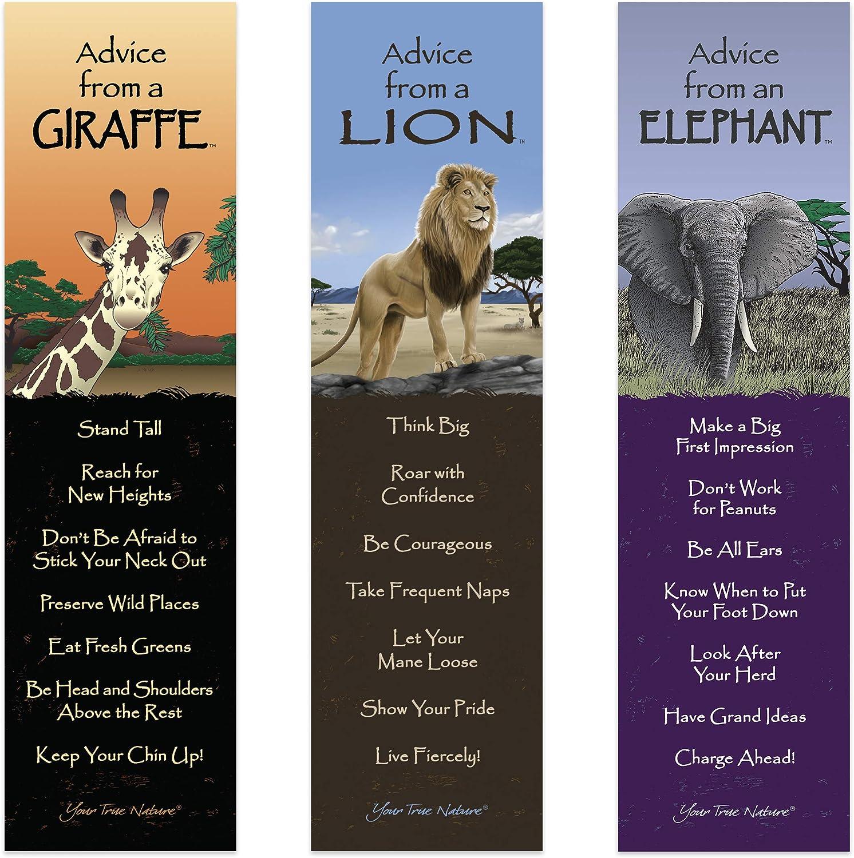 Advice from Nature 3 Bookmark Wild Savanna Set - Elephant, Giraffe, Lion by Your True Nature