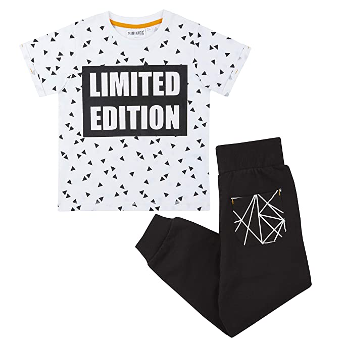Metzuyan Girls Geometric Cotton T-Shirt /& Leggings Outfit