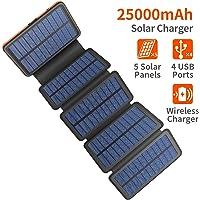 Cargador solar AddAcc 25000mAh portátil Banco de energía impermeable y a prueba de golpes con luz LED y 2 puertos USB 1…