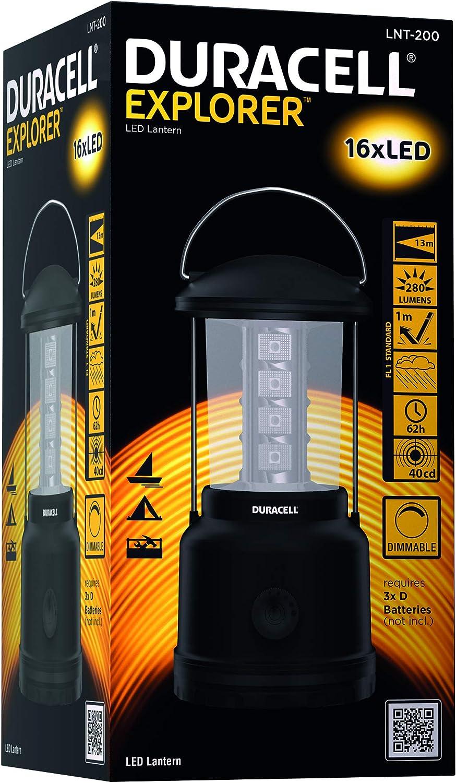 Pack of 1 LNT-20 Explorer LANTERN Series Lantern Torch Black Plastic Finish Duracell Flashlight 90 Lumen LED Light Duracell Batteries Included