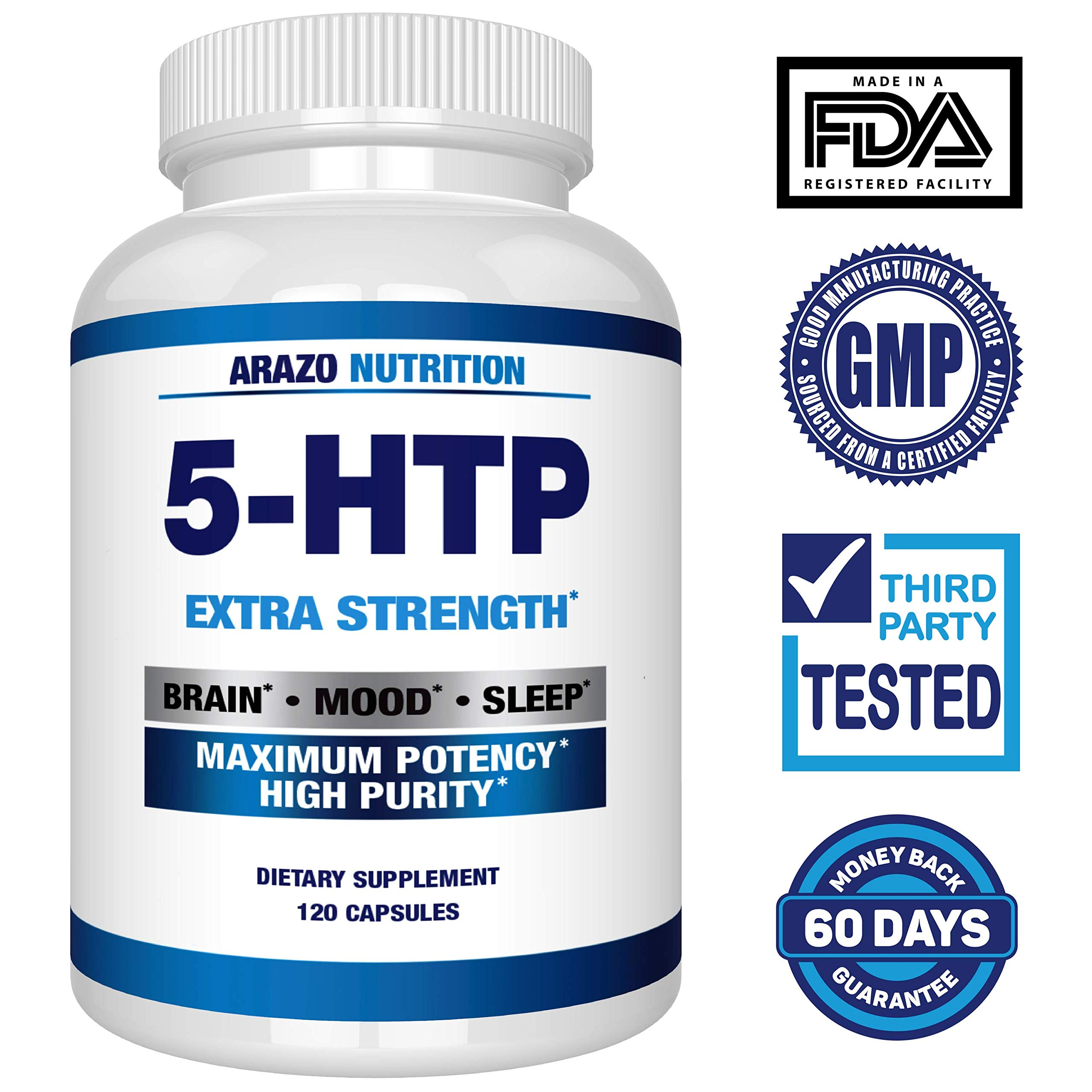 5-HTP 200 mg Supplement - 120 Capsules - Arazo Nutrition by Arazo Nutrition (Image #2)