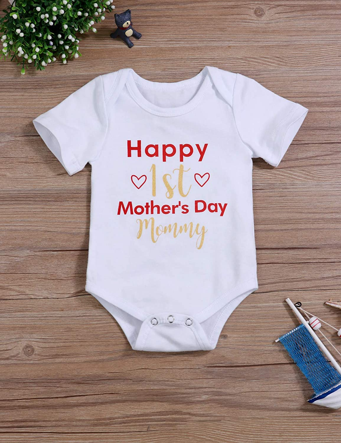 Newborn Baby Boy Girl Happy 1st Mothers Day Outfit Mommy Bodysuit Cute Short Sleeve Onesies