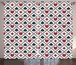 Ambesonne Casino Curtains, Holdem Gambler Hearts Spades Diamons Success Winning Modern Design Artwork, Living Room Bedroom Window Drapes 2 Panel Set, 108