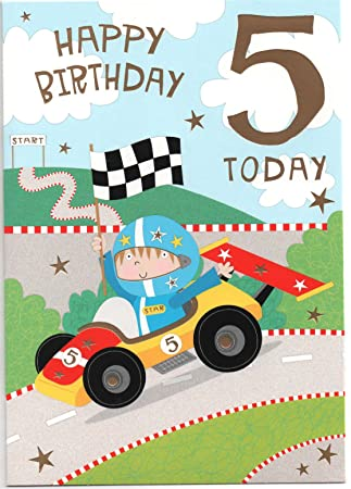 Car racing birthday card for five 5 year old boy free 1st class car racing birthday card for five 5 year old boy free 1st class stopboris Gallery