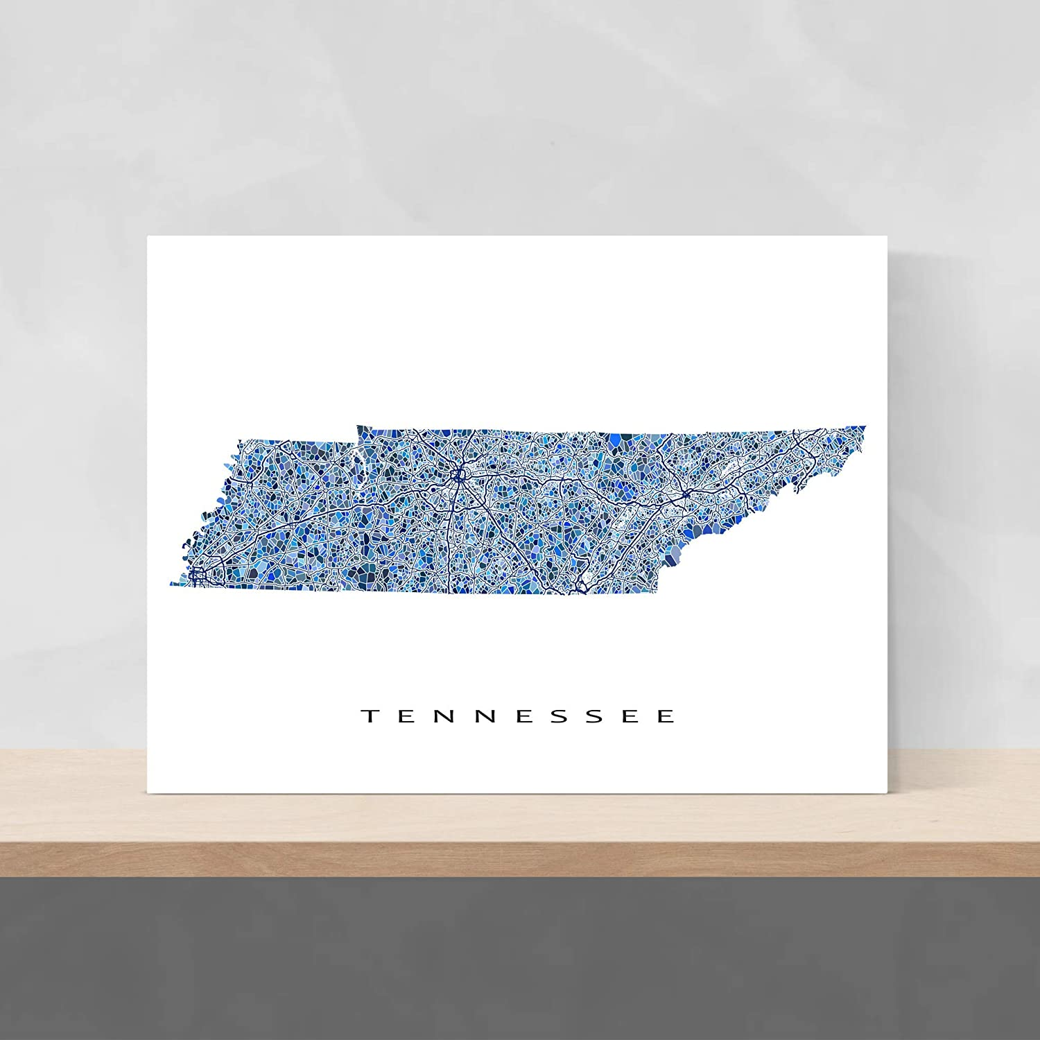 photo relating to Printable Map of Tennessee identify : Tennessee Map Print, TN Place Wall Artwork Decor