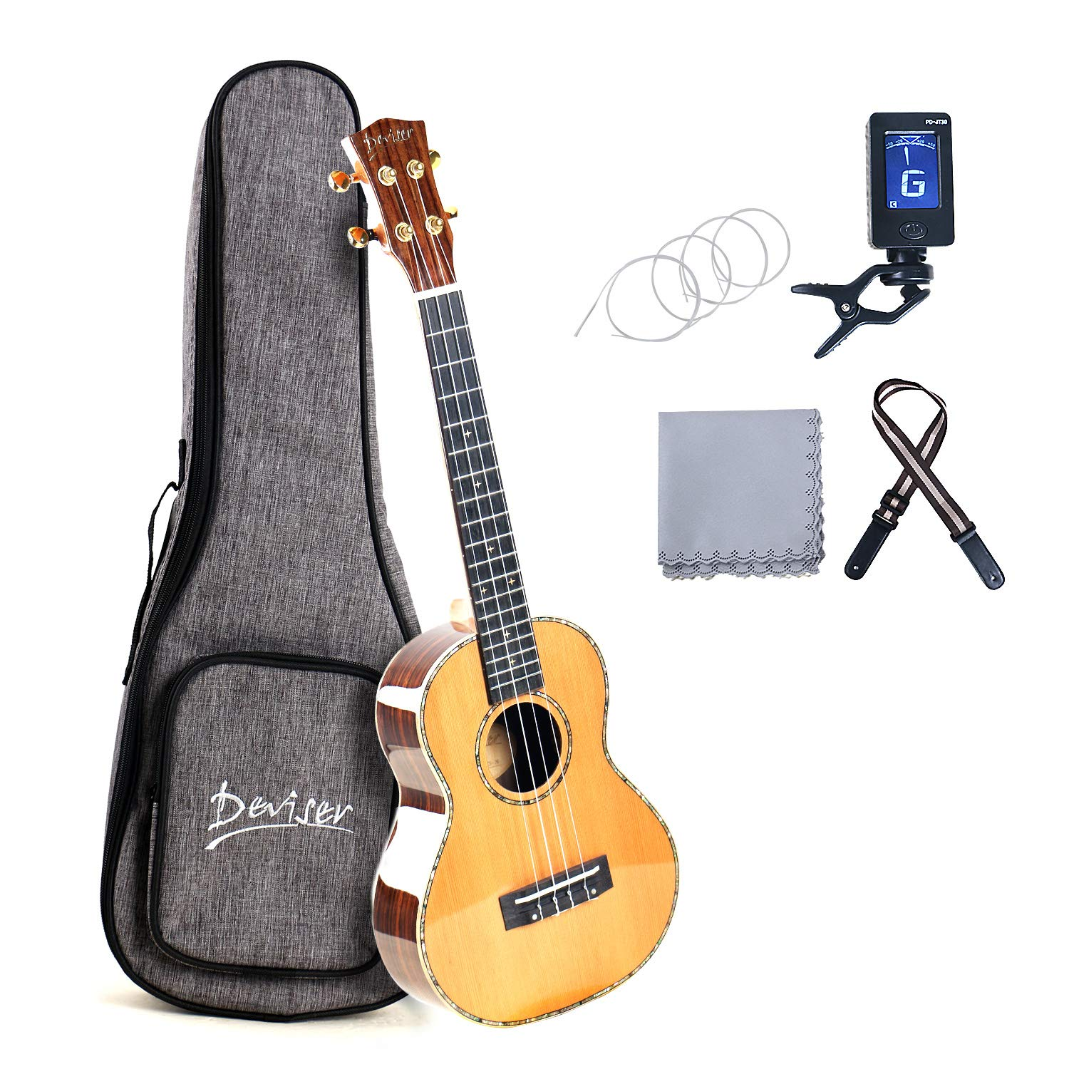 Deviser Concert 23inch professional ukulele Solid Koa Top Koa back /& side with Gig Bag /& Aquila String /& Digital Tuner /& Strap /& Polishing Cloth