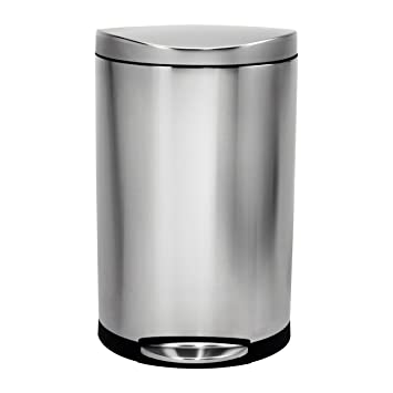 Simplehuman Semi Round Step Trash Can, Stainless Steel, 40 L / 10.5 Gal