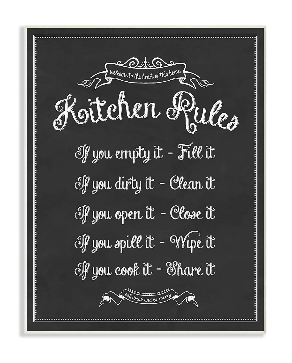 Stupell Home Décor Kitchen Rules Chalkboard Vintage Sign Wall Plaque Art, 10 x 0.5 x 15, Proudly Made in USA
