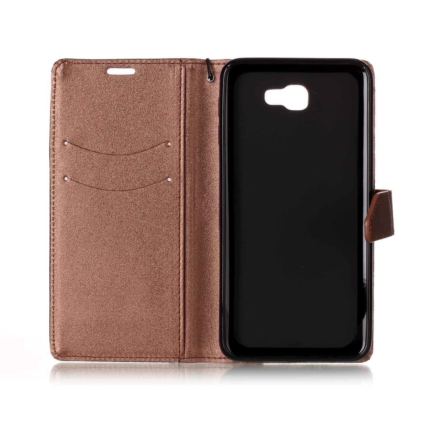 Galaxy J7 Prime Case,Galaxy J7 Prime Cover,ikasus Hit Color Collision PU Leather Fold Wallet Pouch Case Premium Leather Wallet Flip Stand Credit Card ID Holders Case for Samsung Galaxy J7 Prime,Brown