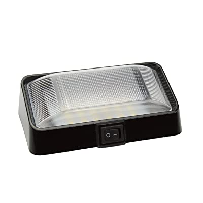 Pilotlights.net LED Porch Light with Switch - Interior Exterior Light 12V - Black Finish - Waterproof - RV, Truck, Trailer, Automobile or Utility LED Lamp 300 Lumens: Automotive