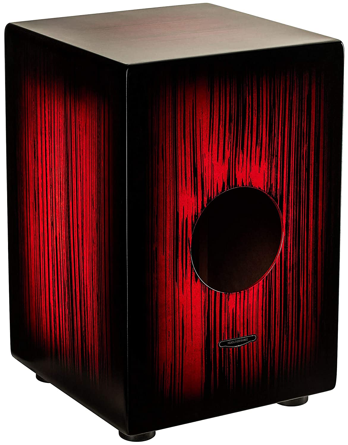 NOT MADE IN CHINA 2-YEAR WARRANTY Full Size Rojo Tiger Stripe Meinl Percussion Cajon Box Drum with Internal Metal Strings for Adjustable Snare Effect HCAJ2RTS