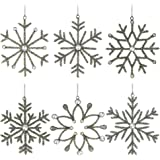 Set of 6 Handmade Snowflake Iron and Glass Decor Valentine Ornaments, 6 Inches