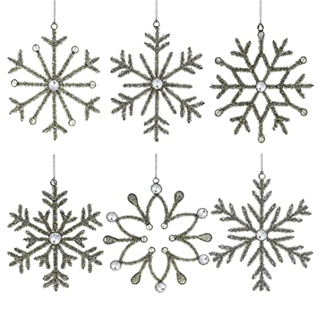 Set Of 6 Handmade Snowflake Iron And Glass Decor Valentine Ornaments 6  Inches   Valentine Ornaments