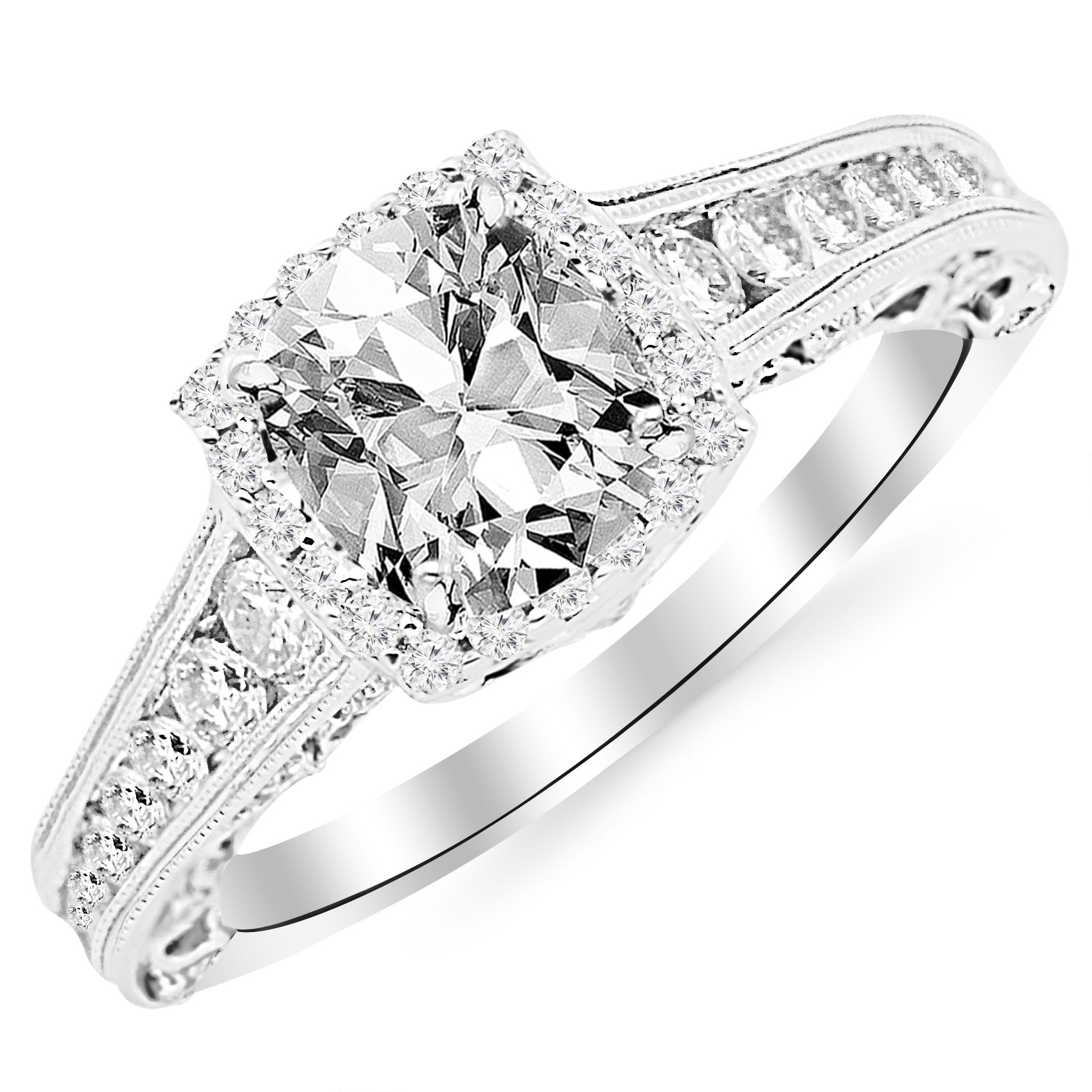 GIA Certified 1.45 Carat Cushion-Cut 14K White Gold Vintage Sidestone Diamond Engagement Ring with Milagrain Half Bezel Baguette with a 0.70 Carat, D-E Color, VVS1-VVS2 Clarity Center Stone by Houston Diamond District