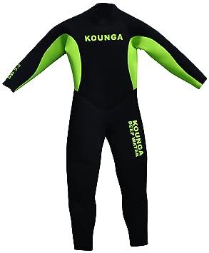 Kounga Dw 3.2 Traje para Surf y Buceo, Unisex niños, Negro/Verde,
