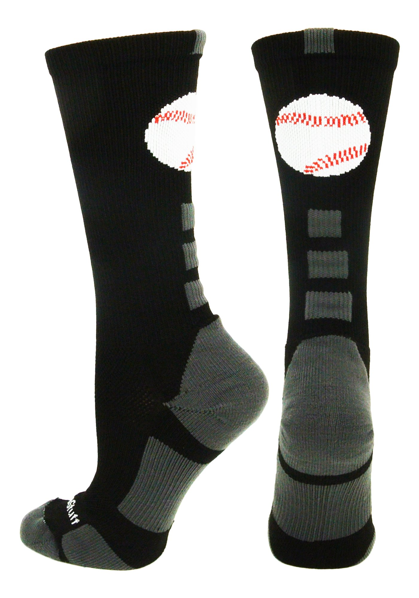 MadSportsStuff Baseball Logo Crew Socks (Black/Graphite, Small) by MadSportsStuff