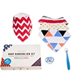 Baby Bandana Bibs (4-pack) by PallMier | Soft Absorbent Gender Neutral Drool Bibs + Ergonomic Silicone Spoon + Soothing Pacifier for Boys and Girls Holiday Gifts