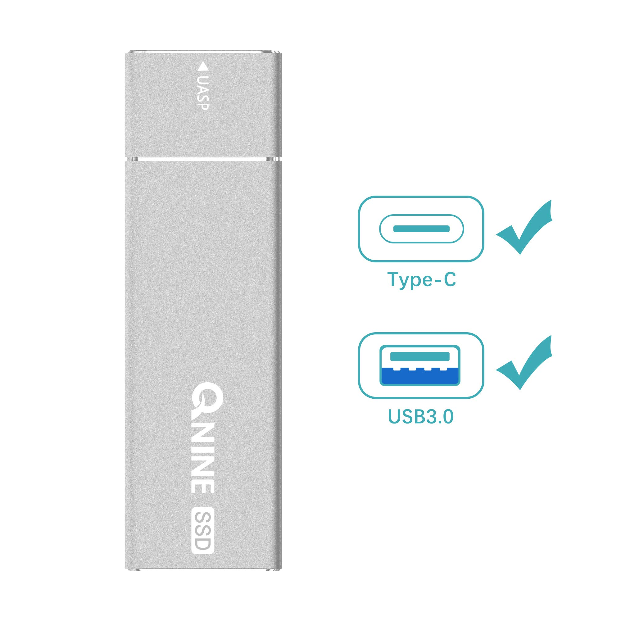 QNINE 512Gb Extreme Portable SSD (1.1 oz Weight), USB C SSD External Hard Drive - USB 3.1 High Speed External SSD for MacBook Pro, Xbox One X, etc