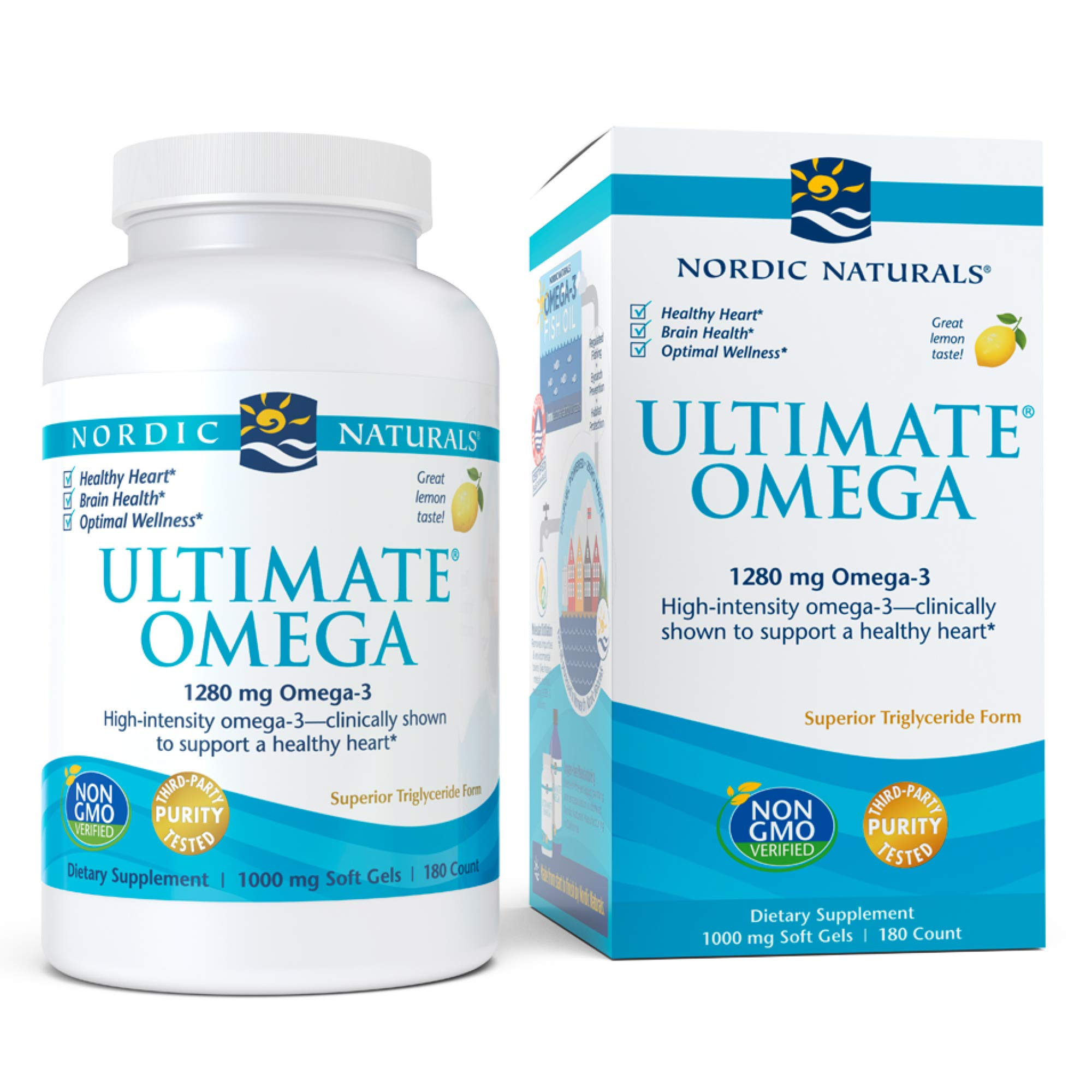 Nordic Naturals, Ultimate Omega, Fish Oil Supplement with Omega-3 DHA and EPA, Supports Heart Health and Brain Development, Burpless Lemon Flavor, (90 Servings) 180 Soft gels by Nordic Naturals