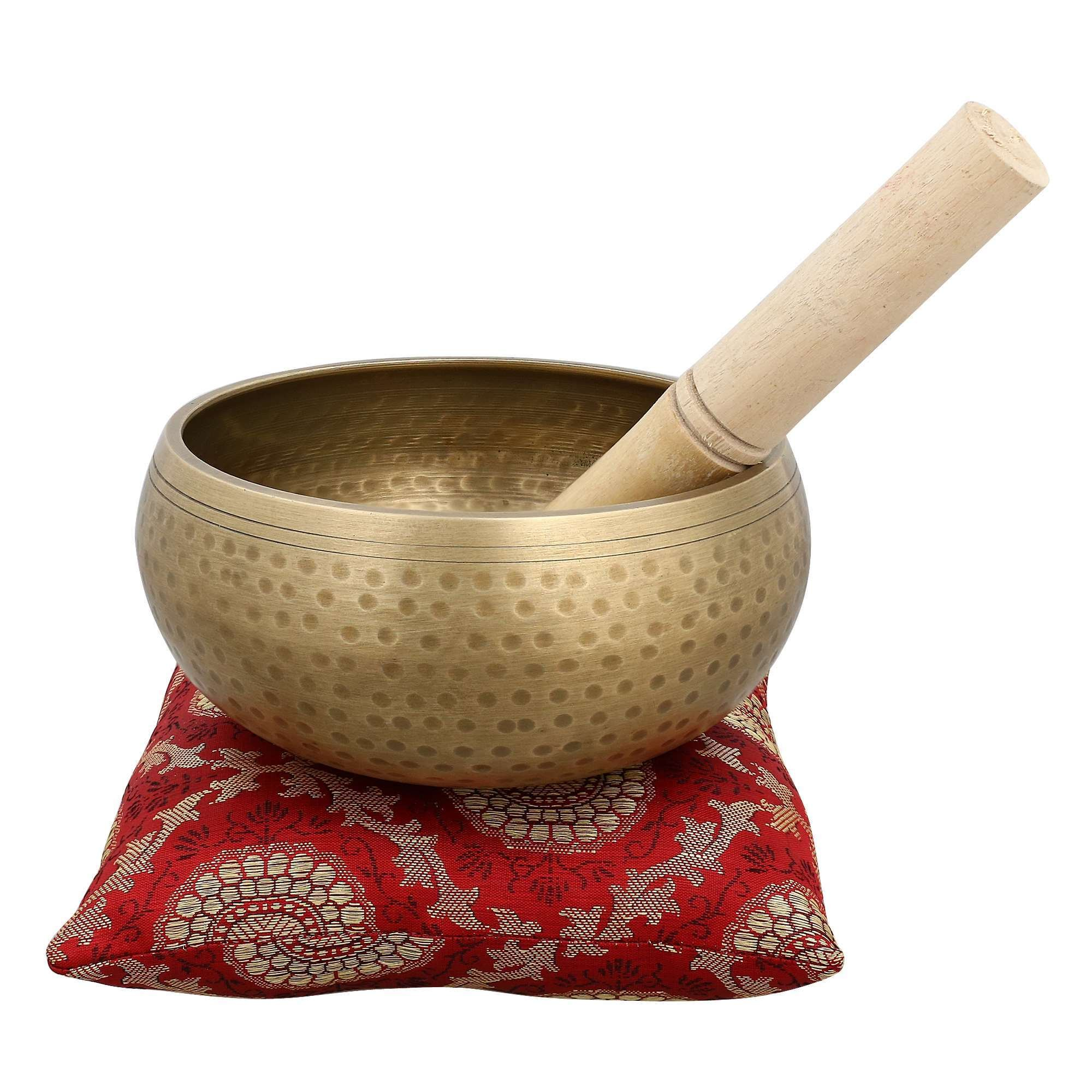 Tibetan Buddhist Large Singing Bowl with Cushion from India for Meditation Sound Healing Prayer Percussion Musical Instrument 5 Inch