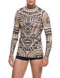 COOFANDY Men's Slim Fit African Tribal Tattoo T-Shirt Maui Printed Nude Shirt