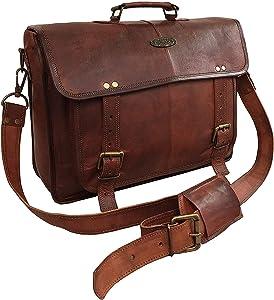 DHK 18 Inch Vintage Handmade Leather Messenger Laptop Briefcase Computer Bag For Men (DARK BROWN BIG POCKET)