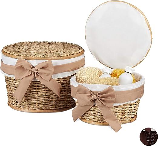 Trenzado Madera de Buri Redondos Relaxdays Set de dos cestos de almacenaje Marr/ón oscuro Con tapa