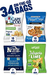 product image for Snack Variety Pack with Kettle Brand and Cape Cod Potato Chips, Late July Tortilla Chips & Snack Factory Pretzel Crisps, 34 Count