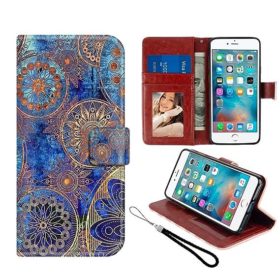 b77c0771d8a iPhone 5/5S/SE Folio Case Mandala, Premium PU Leather Soft TPU Bumper