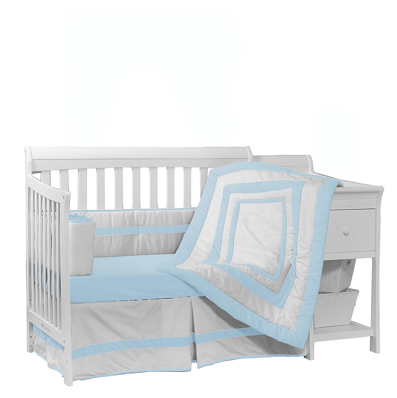 Baby Doll Beddding Modern Hotel Style Nuetral Crib Dust Ruffle Navy 1250dr