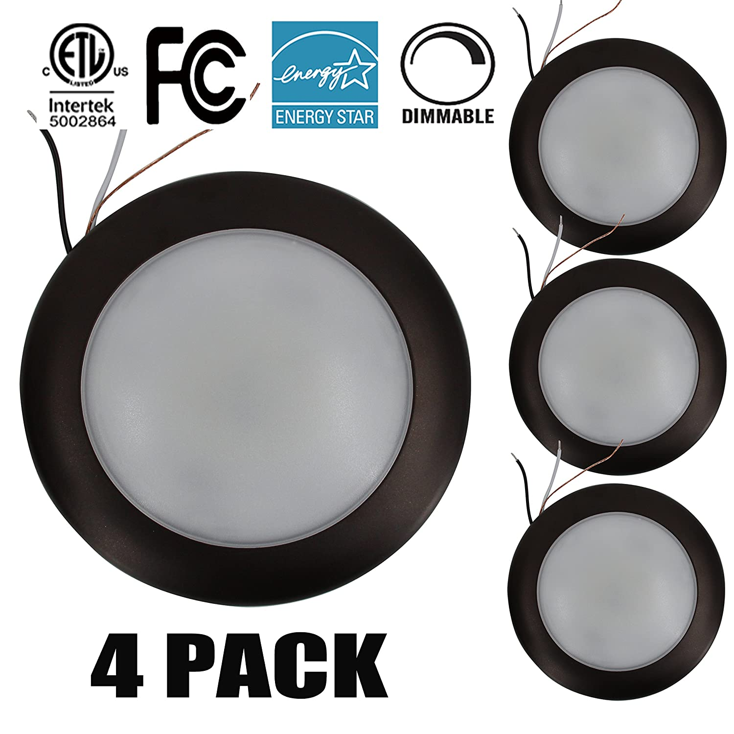 15W 7.5 Dimmable LED Disk Light,Mini LED Ceiling light,Flush Mount Ceiling Fixture,LED Downlight (120W Replacement), Daylight, ENERGY STAR, Installs into ...