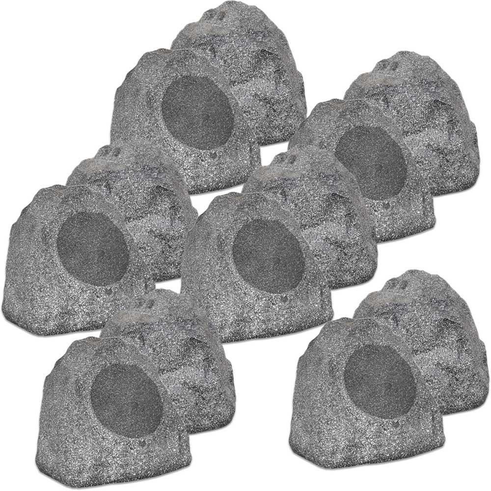 Theater Solutions 12R8G Outdoor Granite 8'' Rock 12 Speaker Set for Deck Pool Spa Yard Garden by Theater Solutions