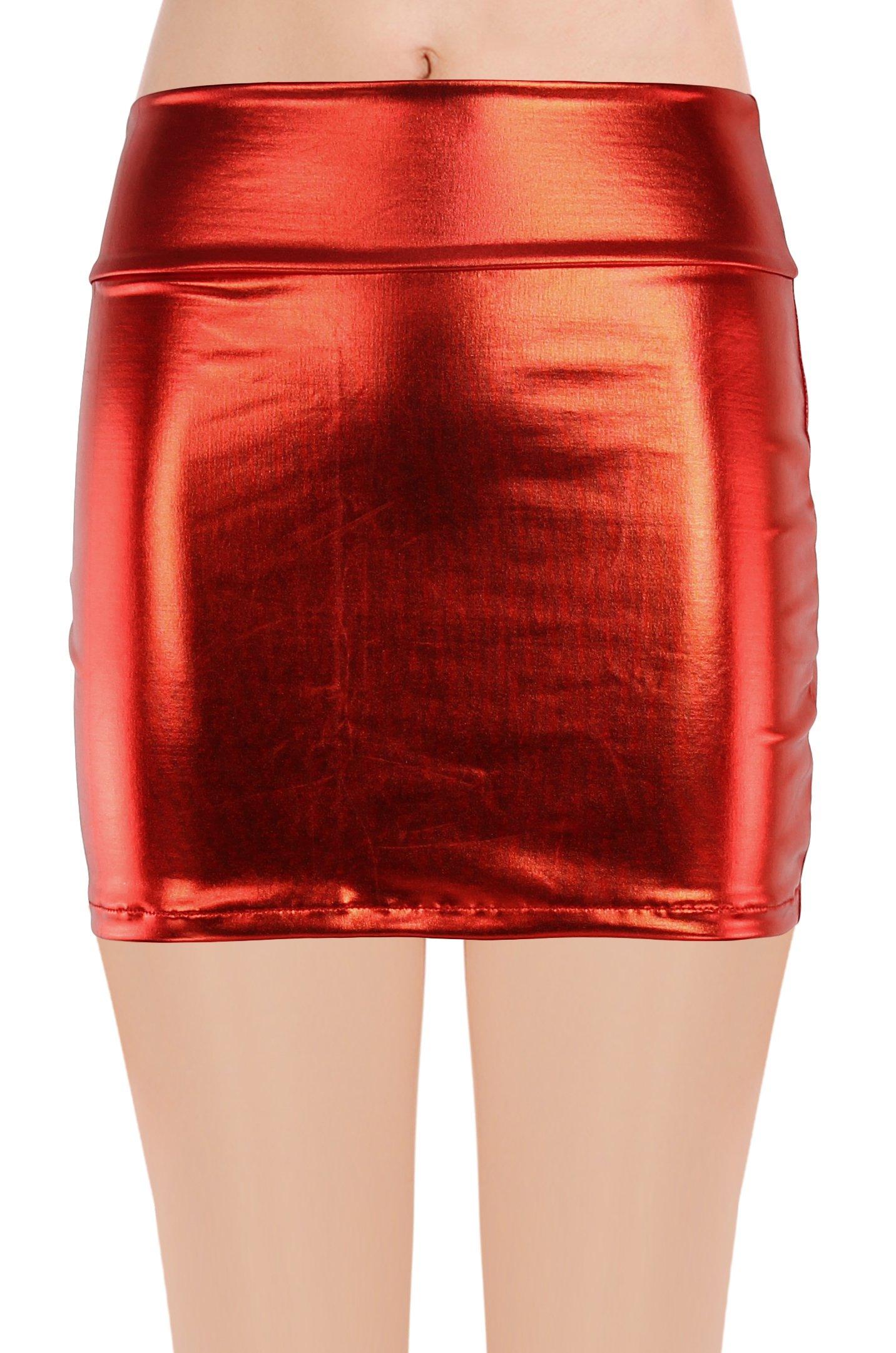 JustinCostume Women's Shiny Metallic Liquid Short Mini Skirt (M, Red)