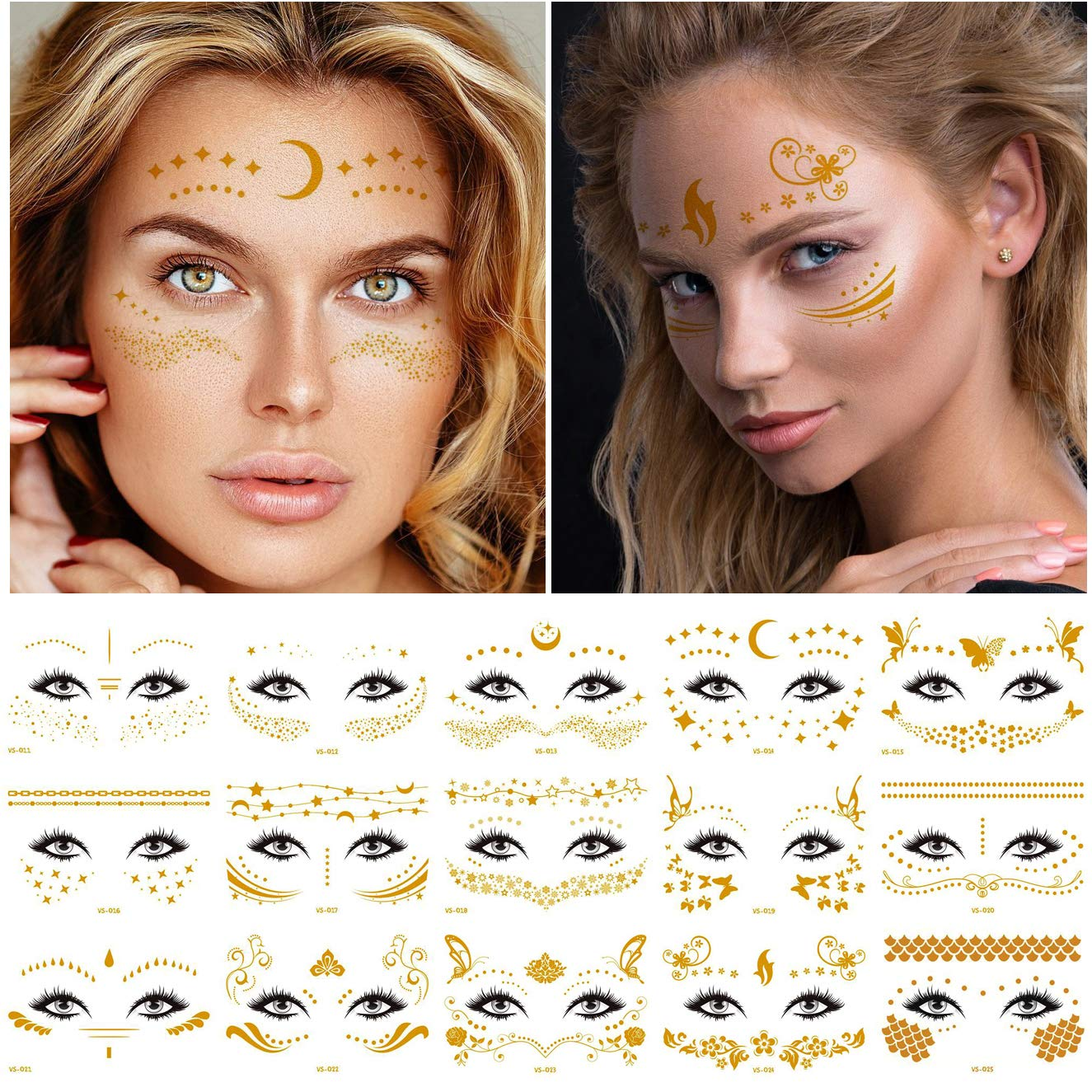 Kotbs 15 Sheets Gold Metallic Temporary Tattoos Sticker Gold Shiny Temporary Face Tattoo Stickers for Women Girls Festive Rave Make Up Dancer Costume Parties