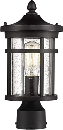 Bestshared Outdoor Post Light 13 75 Height Exterior Post Lighting Fixture Outdoor Patio Post Lantern For Pathway Driveway Front Back Door Post Lamp In Black Finish With Seeded Glass Amazon Com