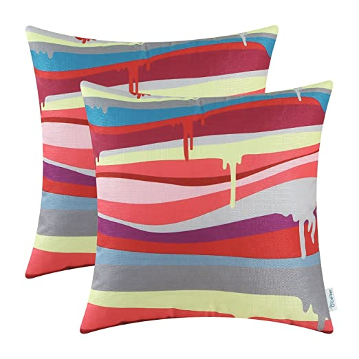 Pack of 2 CaliTime Throw Pillow Covers 18 X 18 Inches, Modern Colorful Stripes