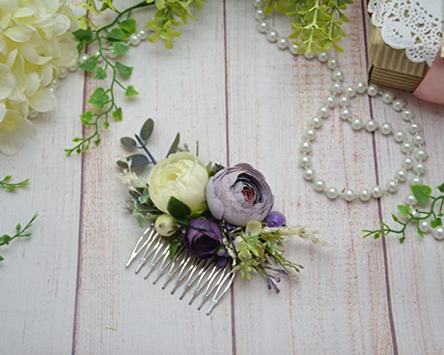 Amazon purple white flower comb violet wedding purple headpiece purple white flower comb violet wedding purple headpiece flower for hair wedding floral comb mightylinksfo