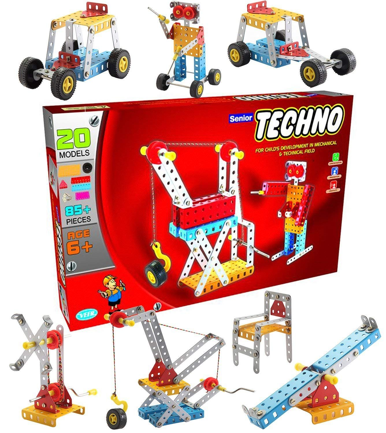 SENIOR TECHNO ,Construction Toys Mechanical Kit For Kids - (Age 6+) with guide book