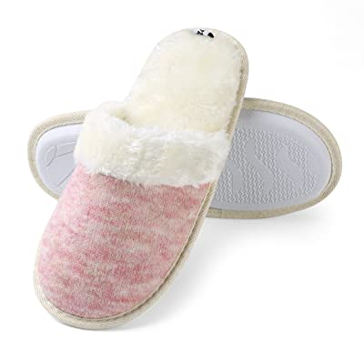 Aerusi Women's Cozy Woven Plush Fleece Lined Memory Foam Slip on Clog Houser Slipper | Slippers