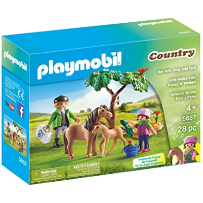 PLAYMOBIL Vet with Pony and Foal: Toys & Games