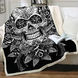 "Sleepwish Sugar Skull Blanket, Rose Skull Throw Blankets for Adults Men Women, Black and White Skull Fleece Throw, Comfort Soft Sherpa Blanket Cozy Machine Washable (50""x60"")"